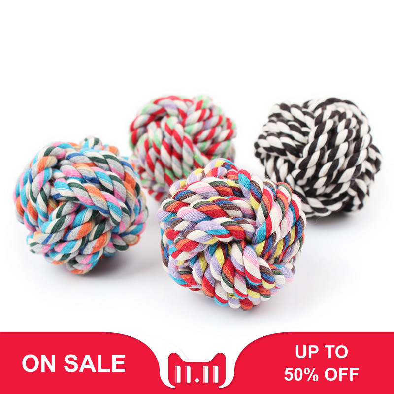 Pet Cotton Rope Ball Hand-Woven Dog Toy Bite-Resistant Dog Bite Molar Tooth Toy Cotton Knot Pets Accessories