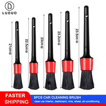 LUDUO 5Pcs Car Cleaning Brush Natural Boar Hair Handle Detailing Brushes Set Dashboard Rims Wheels Beauty Refurbish Tool