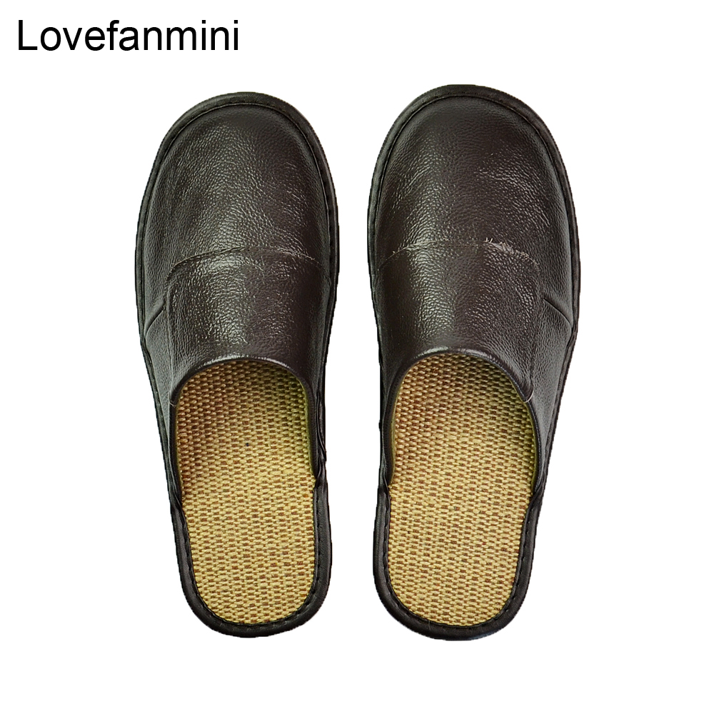 Genuine Cow Leather Slippers Couple Indoor Non-slip Men Women Home Fashion Casual Single Shoes PVC Soft Soles Spring Summer 507