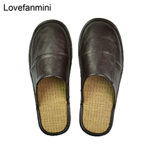 Genuino Della Mucca pantofole In Pelle coppia coperta non slip donne degli uomini di casa moda casual scarpe singolo PVC morbido suole primavera estate 507