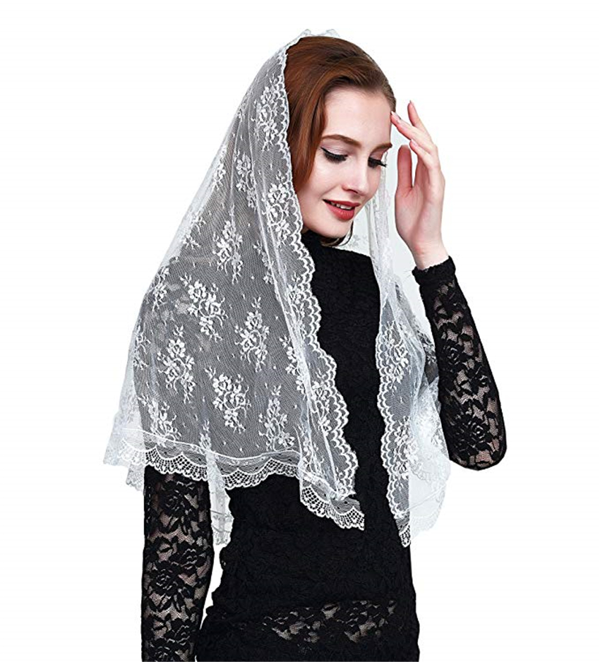 Black White Lace Catholic Mantilla Chapel Church Vintage Veil Catholic Veil Head Covering Scarves Latin Mass Velo Negra Mantille