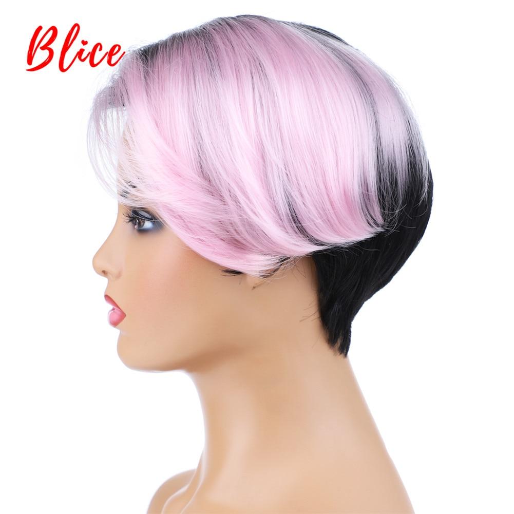 Blice kısa düz sentetik peruk 8 inç doğal Mix renk peruk FT1B/pembe sol yan patlama afrika amerikan kadın peruk