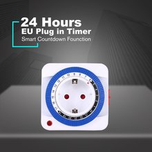 24 Hour Timer Energy Saver Socket in Mechanical Grounded Programmable Timer Switch Smart Switch Indoor Auto Power off US EU Plug