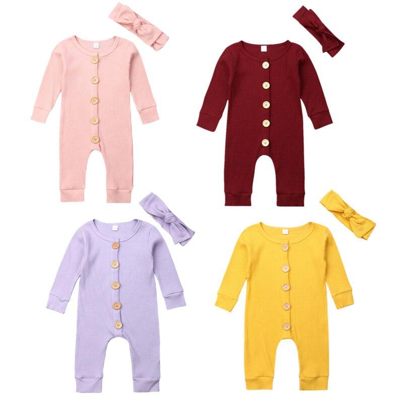 Frühling Herbst Neugeborenen Baby Mädchen Jungen Kleidung Lang Hülse Gestrickte Romper + Stirnband Overall 2PCS Outfit 0-24M