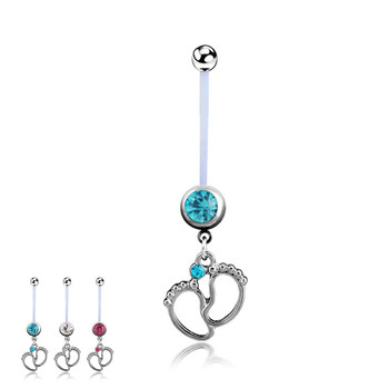 1Pcs Women Maternity Baby Feet Navel Belly Button Rings Fashion Surgical Steel Dangle In Piercings Body Jewelry 3 Colors 1