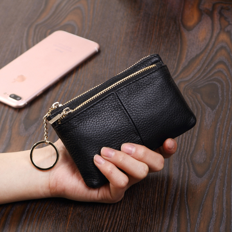 Genuine Leather Purse Women's 2018 New Style Europe And America-Style Fashion Coin Bag Cowhide Zipper Coin Pocket Mini Wallet