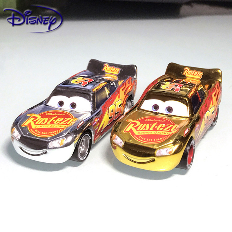 Disney Plating Cars Color Silver Gold Lightning McQueen Metal Diecast Toy Car 1:55 High Quality Rare Boy Toy Car