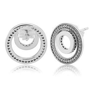 Image 3 - Forever Handtekening Oorbellen Clear Cz 925 Sterling Zilveren Sieraden Voor Vrouw Make Up Mode Vrouwelijke Oorbellen Partij Sieraden