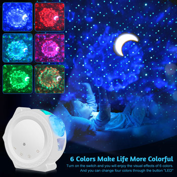 USB Starry Sky Projector LED Nebula Cloud Night Light 6 Colors Ocean Waving Light 360 Degree Rotation Night Lighting Lamp EU/US