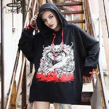 Imily Bela Casual Print Hoodies Women Hoody Gothic Long Sleeve Loose Hooded Sweatshirt Autumn Black Pullovers Streetwear