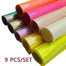 9pcs 22*30cm Synthetic Leather Neon Color Rainbow Burst Crack Materials Faux DIY Decorative HairBow HandBag Shoes Fabric Sheets