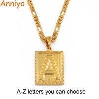 Anniyo A-Z ожерелье с квадратными буквами золотой цвет Начальная подвеска цепочка для мужчин женщин буквы английского алфавита Ювелирные издел...