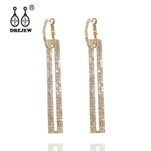 DREJEW Long Tassel Gold Silver Rose Square Crystal Statement Earrings 2019 925 Fashion Drop for Weddings Jewelry HE705
