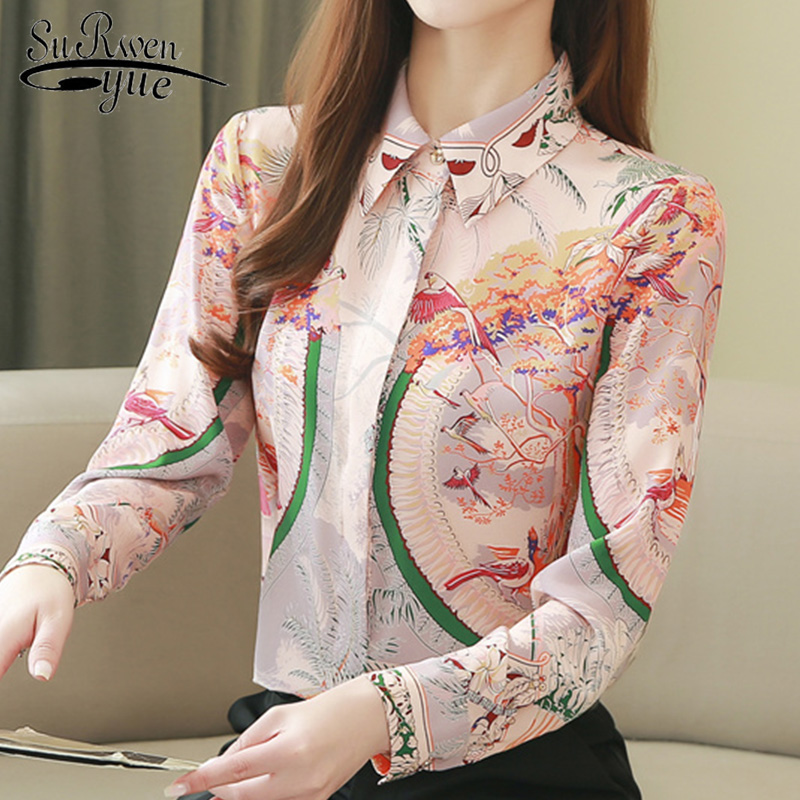 Fashion Causal Spring Long Sleeve Women Shirts 2020 New Silk Print Women Blouse And Tops Plus Size Elegant Female Office 8186 50