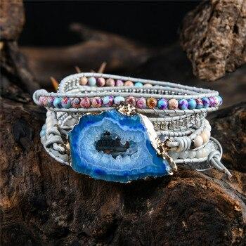 Wrap Bracelets with Natural Blue Jasper for Throat Chakra