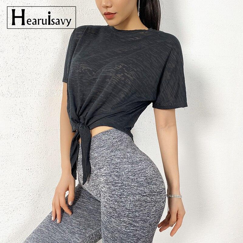 Summer Yoga Shirts Women Running Loose Short Sleeve Sport T Shirt Frivolous Breathable Bandage Quick-Drying Gym Fitness Tops Tee