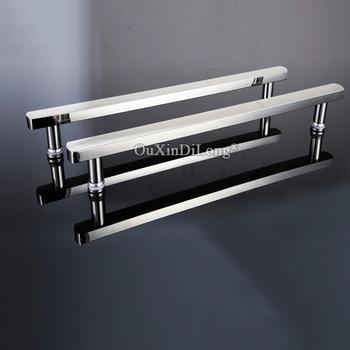 Luxury 2PCS 304 Stainless Steel Frameless Shower Cabin Glass Sliding Door Handles Glass Door Pull / Push Handles Chrome Finished