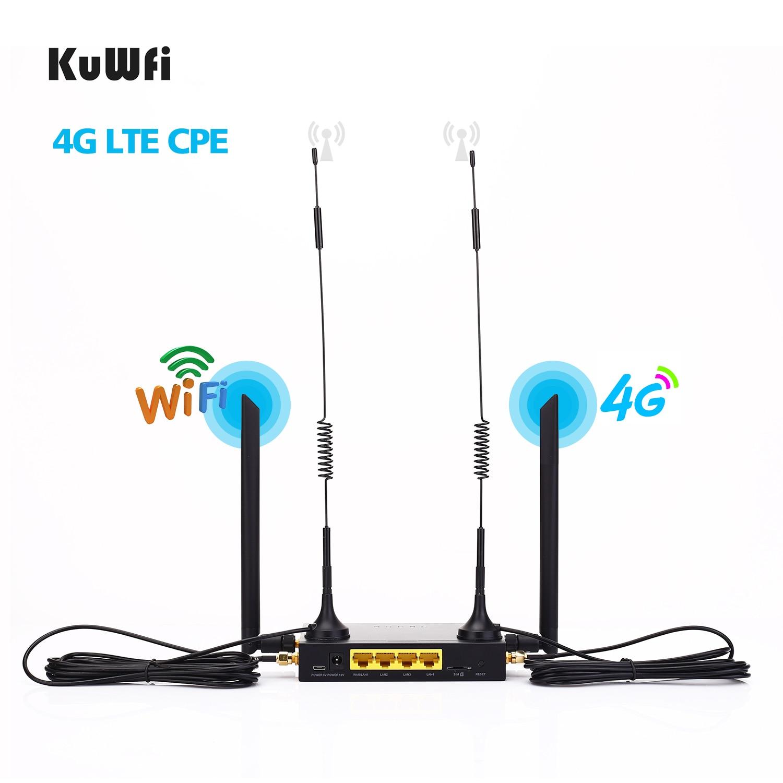 KuWFi Router 300Mbps Промышленный маршрутизатор CAT4 4G CPE Маршрутизатор Extender Сильный сигнал Wi-Fi Поддержка 32Wifi пользователей со слотом для SIM-карты