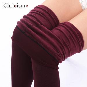 Image 2 - Large Size Womens High Waist Thick Velvet Legging 2019 Winter Warm Leggings Solid Push Up Leggings Women