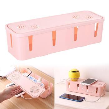 Caja de almacenamiento de enchufe de administración de cable de alimentación caja de almacenamiento de cable organizador de almacenamiento seguro de alambre para el hogar