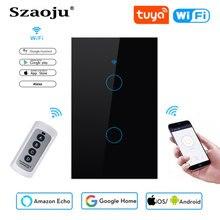 Szaoju Touch Switch US Standard,White Crystal Glass Panel, Tuya Smart 433RF, Ac220v, 1 Set, 1 Way, Wall Light, Wall Touch Screen