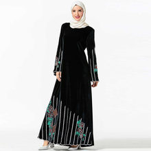 Elegant Muslim Long Dresses Embroidery Middle Eastern Dress Gold Velvet Flower Embroidered Female Long Robes (without headscarf)(China)