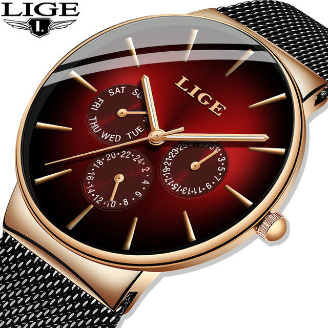LIGE موضة جديدة رجالي ساعات العلامة التجارية الفاخرة ساعة كوارتز الرجال شبكة الصلب مقاوم للماء رقيقة جدا ساعة اليد للرجال الرياضة على مدار الساعة