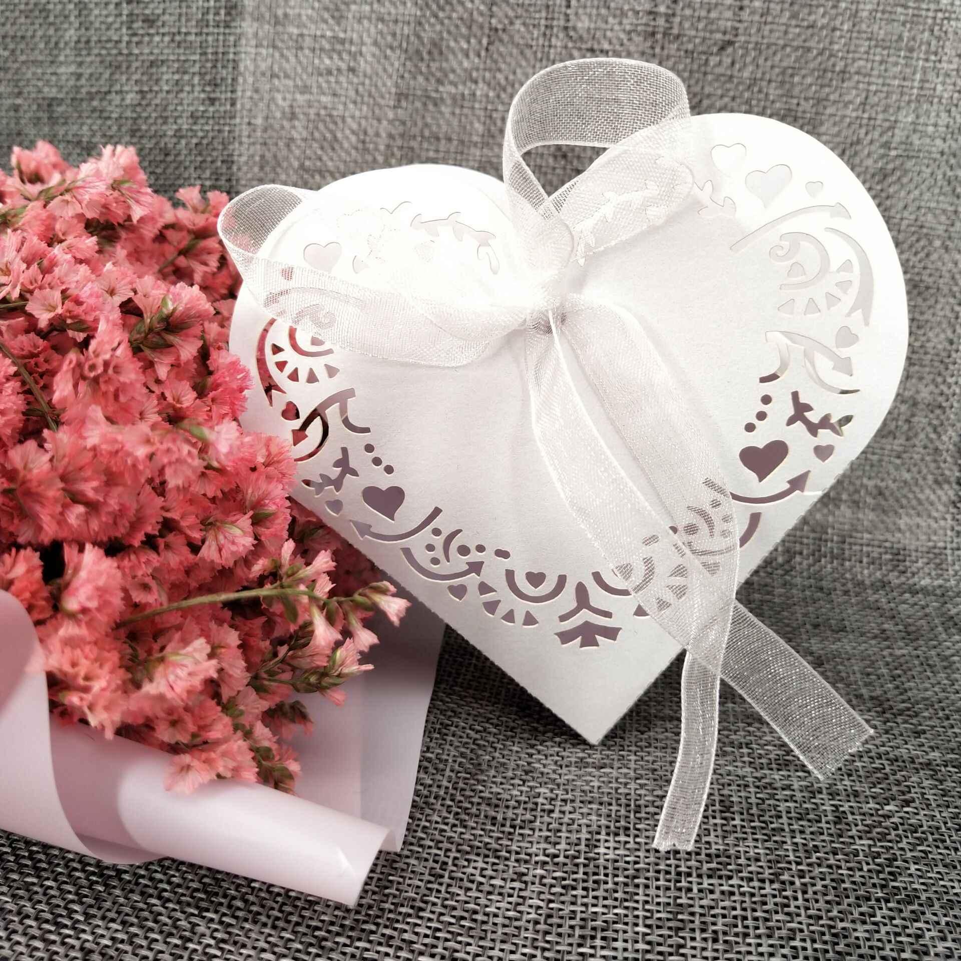 10/50 pces coração-em forma de caixas de dragee doces de casamento caixas de lembrancinhas de presente com fita decorações de mesa caixa de chocolate 5z