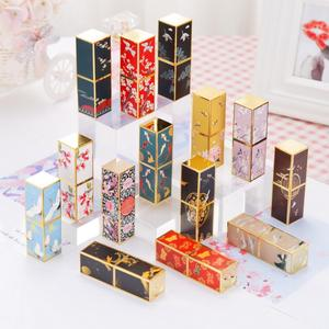 12.1mm Chinese Style 3D Embossed Magnetic Buckle Lip Balm Tube Square Empty Refillable Bottles Lipstick Tube 7.6cm*2.3cm
