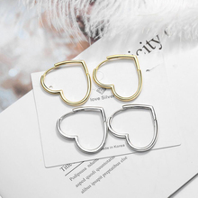 KOFSAC Latest 925 Sterling Silver Hoop Earrings For Women Engagement Fashion Jewelry Simple Heart Shape Gold Girl Gifts