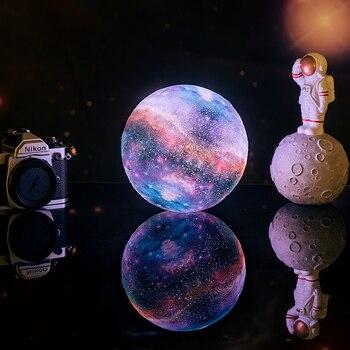 Dropship nueva llegada 3D impresión estrella Luna lámpara cambio colorido toque decoración del hogar regalo creativo Usb Led luz de noche Galaxy lámpara