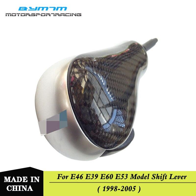 Pommeau de levier de vitesse argenté en fibre de carbone pour BMW E39 E46 E60 3 5 Series