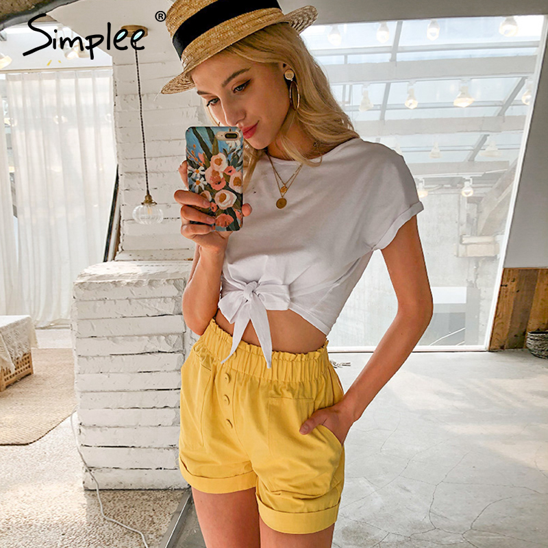 Simplee Casual Elastied Waist Wellow Women Shorts Spring Summer High Street Pockets Short Holiday Fashion Wide Leg Shorts 2020