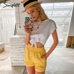 Simplee Casual elastied waist wellow women shorts Spring summer high street pockets short Holiday fashion wide leg shorts 2020