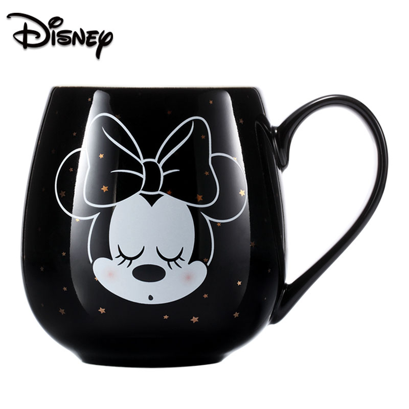 Disney Fashion Creative Disney Creative Mug Water Cup Mickey Minnie Cartoon Ceramic Cup With Cover Large Capacity Coffee Cup