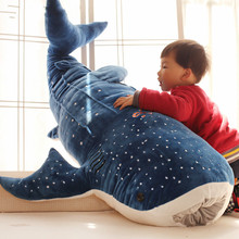 1pc 50/100cm New Cute Blue Shark Plush Toys Big Fish Cloth doll Stuffed Whale Animals Doll Lovely Children Baby Birthday Gift недорго, оригинальная цена