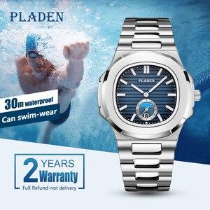 Image 2 - PLADEN Diving Chronograph Wristwatch Mens Waterproof Quartz Clock Male Stainless Steel Luxury Brand Men Watch Relogio Masculino