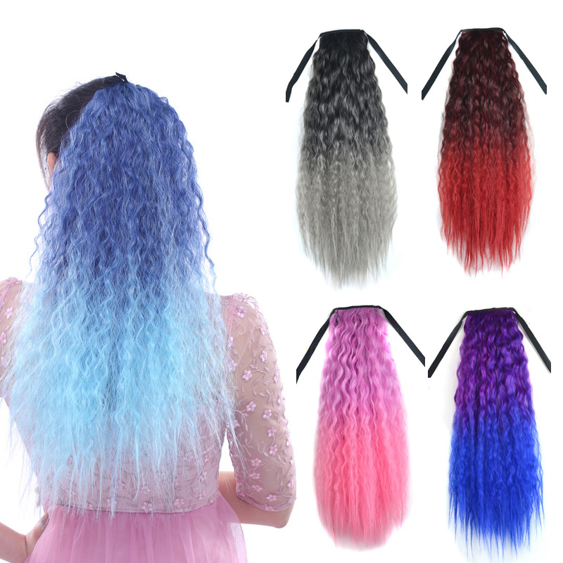 jeedou 55cm Synthetic Kinky Curly Hair Ponytail Blue Pink Red Ombre Color Ribbon Drawstring Ponytail Cosplay Hair Extensions