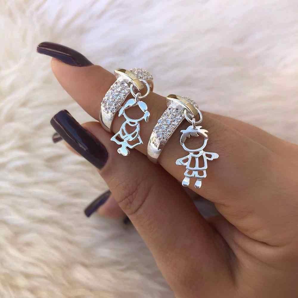 Modyle 2019 Luxury Brand สี Cz งานแต่งงานแหวนออกแบบใหม่ Boy และสาวจี้แหวนแฟชั่นของขวัญ