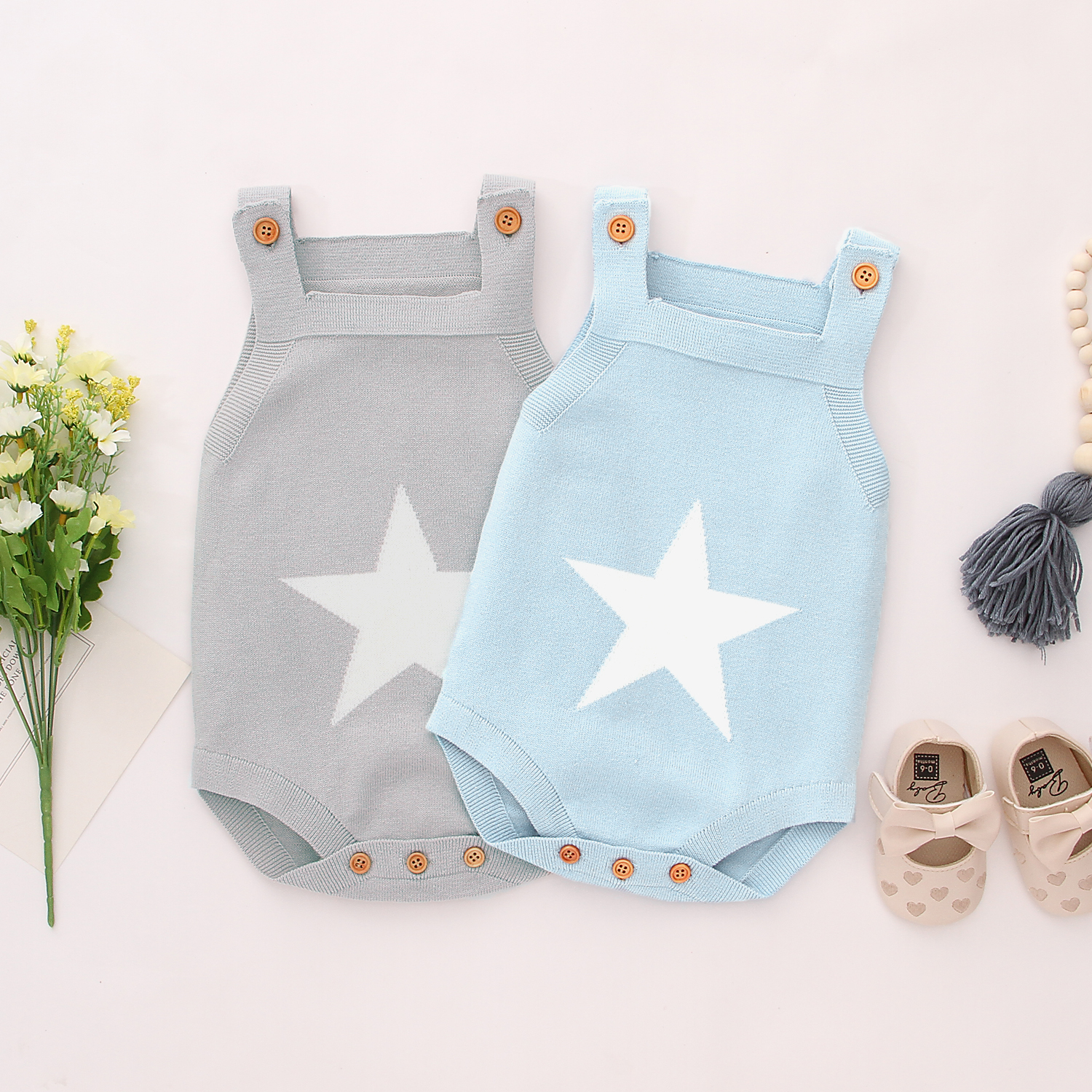 Autumn Bodysuits For Boys Onesie White Star Knitted Newborn Baby Girls Coveralls Sleeveless Toddler Jumpsuits Children Body Suit