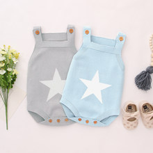 Newborn Baby Bodysuits For Boys Girls Onesie White Star Knitted Infant Coveralls Sleeveless Toddler Jumpsuits Children Body Tops