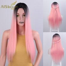 AISI beauté longue Ombre rose perruque perruques synthétiques pour noir/blanc femmes droite rouge Blonde vert gris brun jaune Cosplay