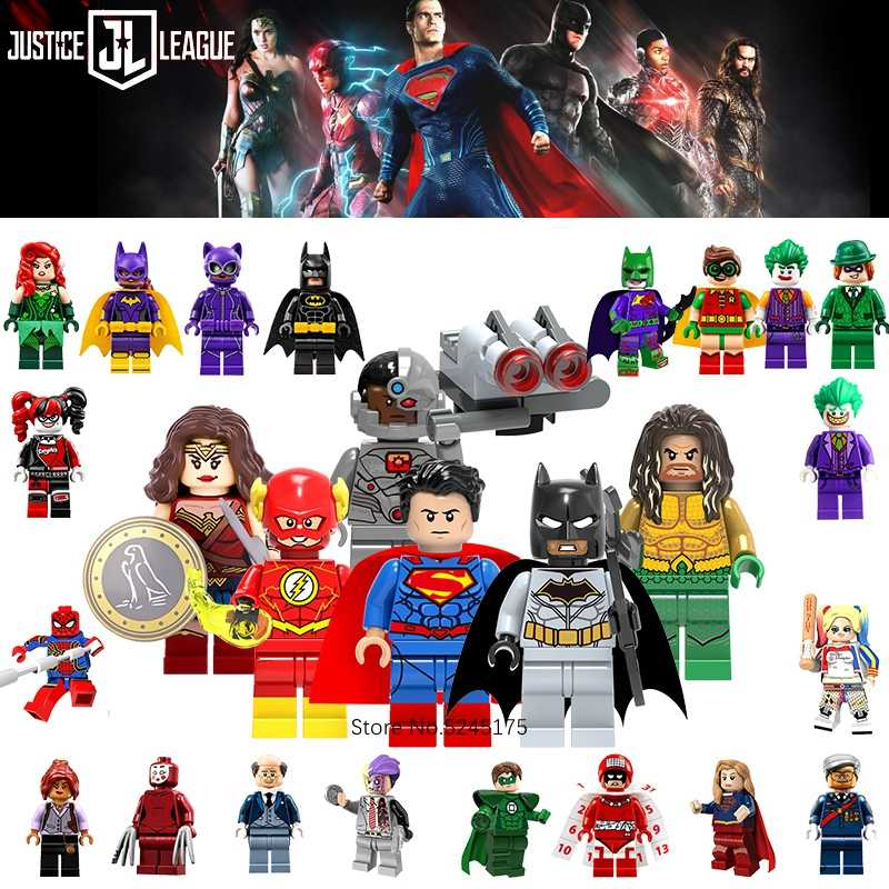 Justice League Super Heroes Batman Superman Wonder Woman Aquaman Cyborg Flash Angka Model Blok Bangunan Mainan untuk Anak-anak