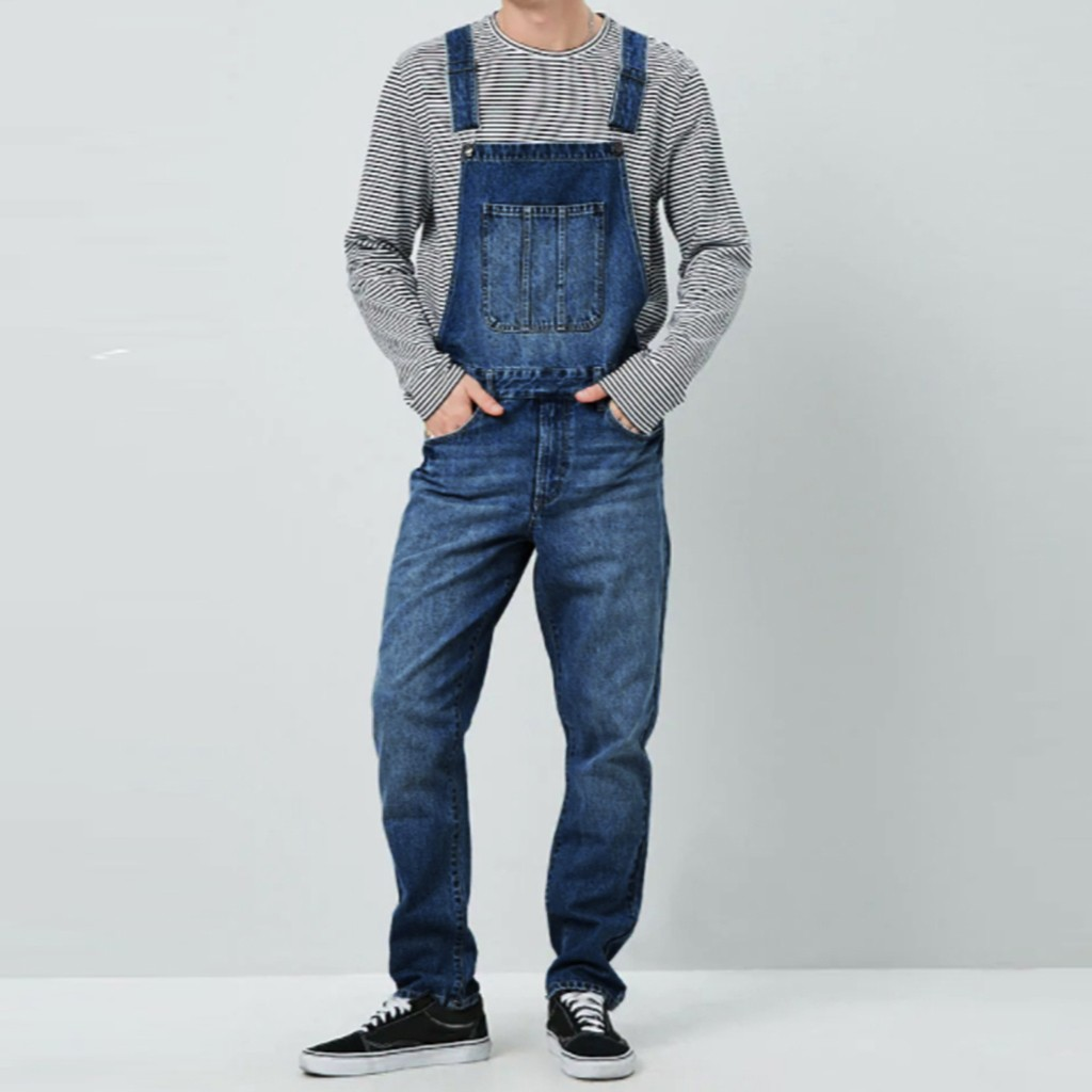 Mens Jeans Wash Overall Jumpsuit Streetwear Pocket Suspender Pants Trousers Male Casual Pockets Jean Fashion Design