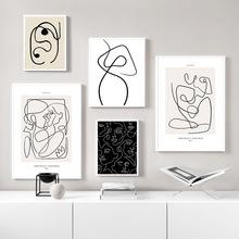 Abstrakcyjna linia płótno czarny biały Wall Art minimalistyczna grafika malarstwo Room Decor plakat skandynawski kobieta ciało obraz Modern Living tanie tanio CN (pochodzenie) Płótno wydruki Pojedyncze Akrylowe Bezramowe lustra Malowanie natryskowe Poziome Prostokąt