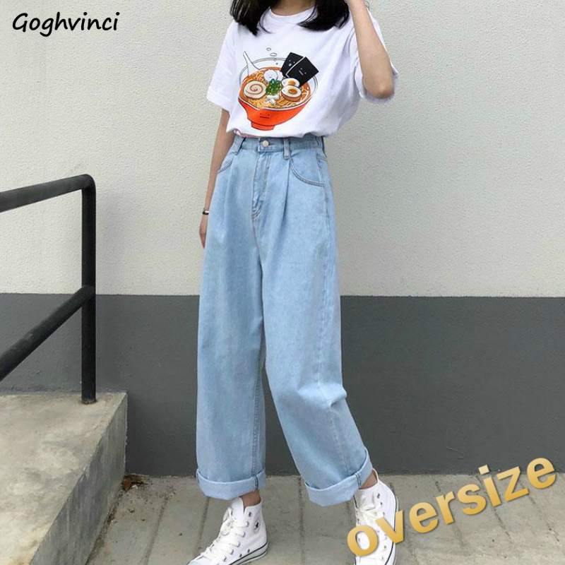 High Waist Jeans Women Solid Ankle-length Wide Leg Denim Trousers Womens Plus Size 5XL Oversize All-match High Quality Simple