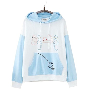 Women Cute Four Cats Embroidery Patchwork Sweatshirts Japan Style Sweet Fleece Harajuku Hoodies Femme Casual Pullovers 2011825
