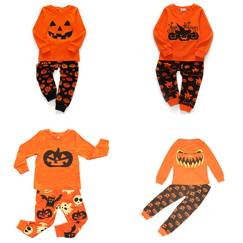 2019 Boys Girls   Pajamas     Sets   Children Halloween Clothes for Girls Autumn Winter Kids Cartoon Long Sleeve Sleepwear