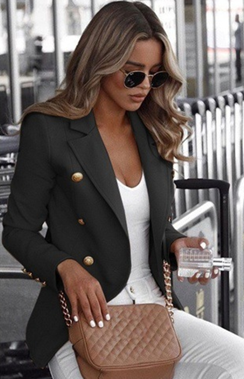 S-5XL Plus Size Women Long Sleeved Blazer 2019 Autumn Ladies Solid Color Collar Small Suit Casual  Double Breasted Jacket