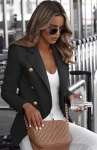 S-5XL Plus Size Women Long Sleeved Blazer 2019 Autumn Ladies Solid Color Collar Small Suit Casual  Double Breasted Jacket novel style stand collar double breasted slimming solid color long sleeves blazer for men